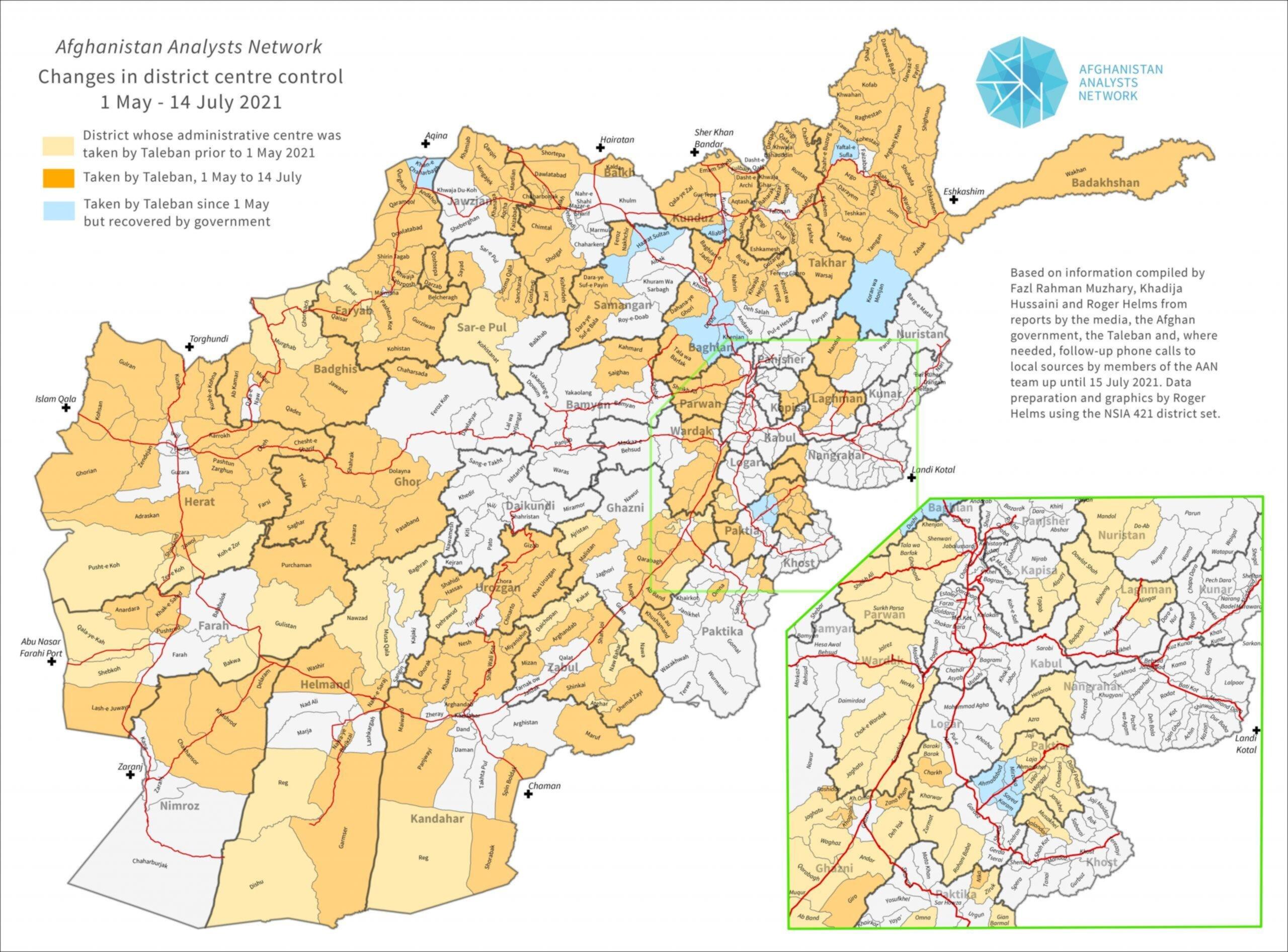 Distretti afgani contesi tra Talebani e governo di Kabul - luglio 2021